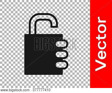 Black Safe Combination Lock Icon Isolated On Transparent Background. Combination Padlock. Security,