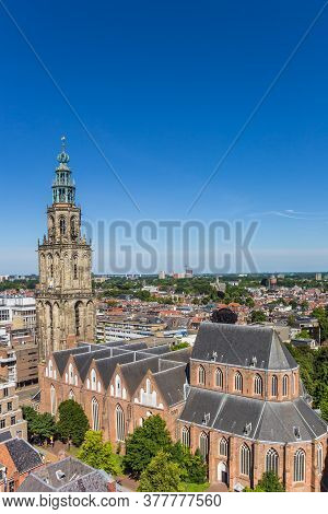 Aerial View Of The Historic Martini Church In Groningen, Netherlands