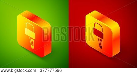 Isometric Lockpicks Or Lock Picks For Lock Picking Icon Isolated On Green And Red Background. Square