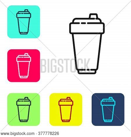 Black Line Fitness Shaker Icon Isolated On White Background. Sports Shaker Bottle With Lid For Water