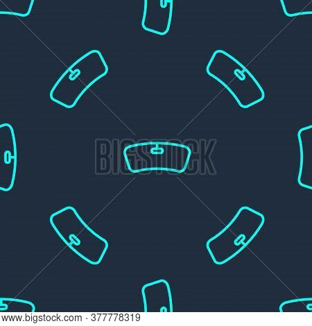 Green Line Windshield Icon Isolated Seamless Pattern On Blue Background. Vector Illustration