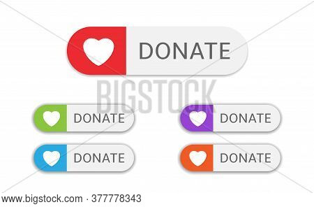 Voluntary And Donation Concept. Donate Button Icons. White Buttons With Various Colored Hearts Symbo