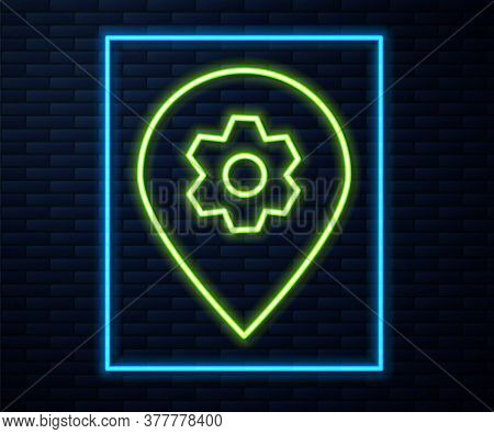 Glowing Neon Line Location With Car Service Icon Isolated On Brick Wall Background. Auto Mechanic Se