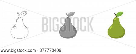 Fresh Pear Icon Vector Illustration. Green Pear Icon. Pear Icon Clipart