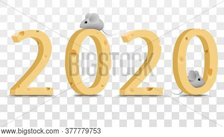 2020, Cheese Figures With Mice. Elements For New Years Design. Figures From Cheese And Gray Rats. Ve