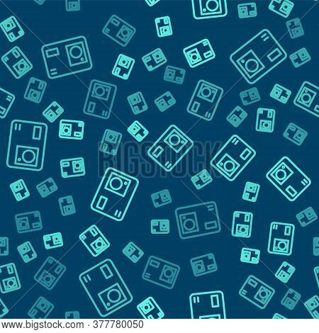 Green Line Action Extreme Camera Icon Isolated Seamless Pattern On Blue Background. Video Camera Equ