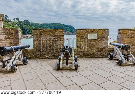 26 July 2018 - Dartmouth, Devon, Uk: Cannons At Dartmouth Castle On The Estuary Of The River Dart, D