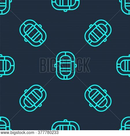 Green Line Rafting Boat Icon Isolated Seamless Pattern On Blue Background. Inflatable Boat. Water Sp