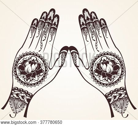 Female Hands With Traditional Indian Henna Tattoo. Template For Tottoo Salon Banner
