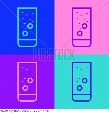 Pop Art Line Effervescent Aspirin Tablets Dissolve In A Glass Of Water Icon Isolated On Color Backgr