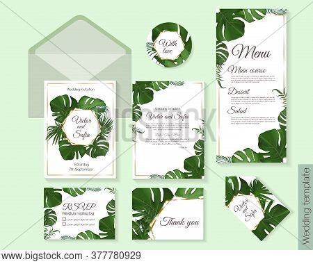 Vector Template For A Wedding Invitation. Tropical Green Leaves, Monstera, Palm Leaves. Greeting Car