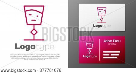 Logotype Line Wine Glass Icon Isolated On White Background. Wineglass Sign. Logo Design Template Ele