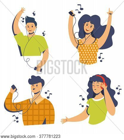 Happy People Listen To Music With Headphones. Girls And Men Are Dancing. Gadgets For Listening To Mu