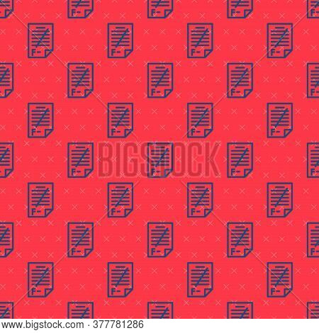 Blue Line Exam Paper With Incorrect Answers Survey Icon Isolated Seamless Pattern On Red Background.
