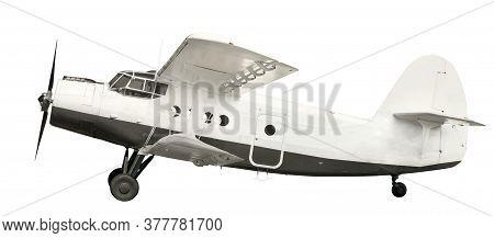 White Airplane Biplane With Piston Engine