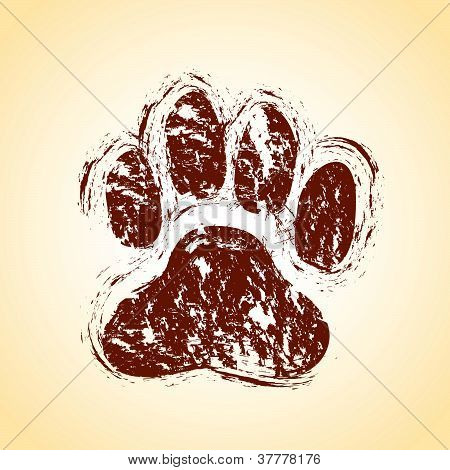 a brown dirty or grungy dog paw background poster