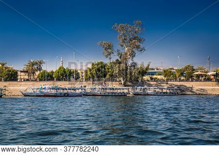 Luxor, Egypt - Jan 28, 2020:The touristic boats on Nile river in Luxor city, Egypt,
