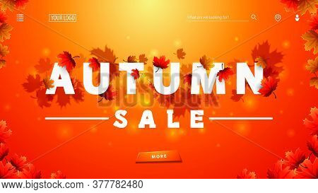 Autumn Sale, Orange Discount Banner With 3d White Great Headline With Autumn Leafs, Frame Of Autumn