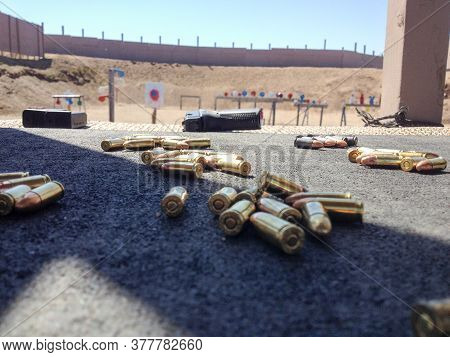 Firing Range For Shooting Guns Pistols Firearms Training Outdoor Ammunition And Weapons Ready