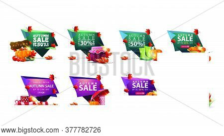 Autumn Sale, Large Collection Of Modern Discount Banners In Abstract Forms, Buttons And Autumn Eleme
