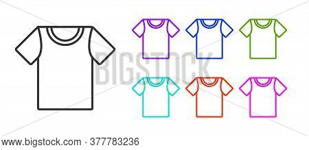 Black Line T-shirt Icon Isolated On White Background. Set Icons Colorful. Vector Illustration