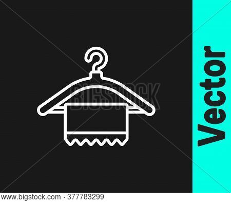 White Line Hanger Wardrobe Icon Isolated On Black Background. Clean Towel Sign. Cloakroom Icon. Clot