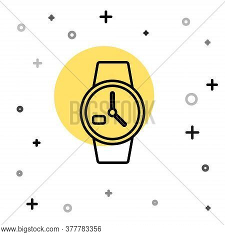 Black Line Wrist Watch Icon Isolated On White Background. Wristwatch Icon. Random Dynamic Shapes. Ve