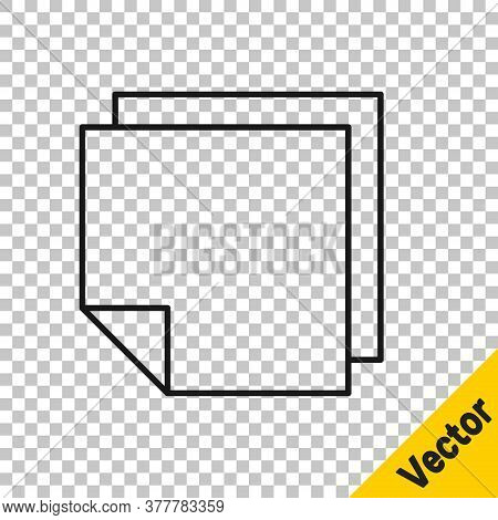 Black Line Post Note Stickers Icon Isolated On Transparent Background. Sticky Tapes With Space For T