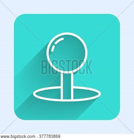 White Line Push Pin Icon Isolated With Long Shadow. Thumbtacks Sign. Green Square Button. Vector Ill