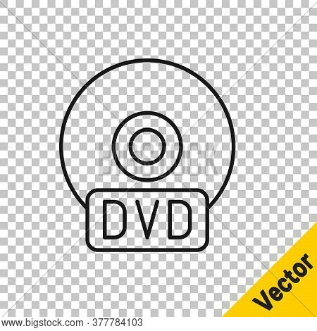 Black Line Cd Or Dvd Disk Icon Isolated On Transparent Background. Compact Disc Sign. Vector Illustr