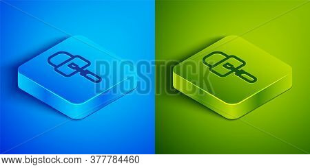 Isometric Line Lockpicks Or Lock Picks For Lock Picking Icon Isolated On Blue And Green Background.