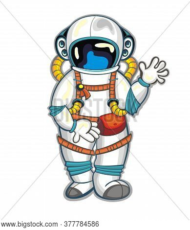 Cute Funny Cosmonaut. Astronaut Spaceman For Your Design