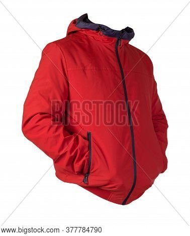 Male Red Jacket With A Zipper With A Hood Isolated On A White Background. Windbreaker Jacket. Casual