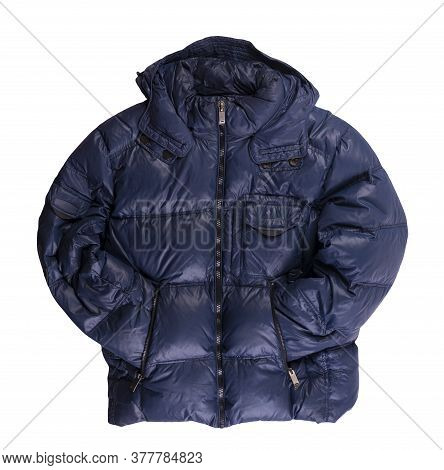 Mens Dark Blue Jacket Down-bed In A Hood Isolated On A White Background. Windbreaker Jacket Top View