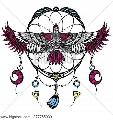 Falcon Tattoo Logo.  Design Vector Template With Bird