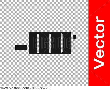 Black Car Muffler Icon Isolated On Transparent Background. Exhaust Pipe. Vector Illustration