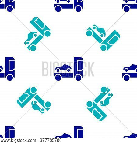 Blue Car Transporter Truck For Transportation Of Car Icon Isolated Seamless Pattern On White Backgro