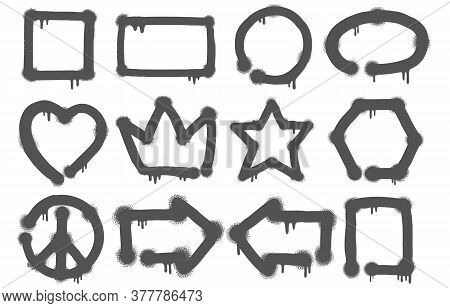 Set Of Graffiti Doodles And Sketches With A Variety Of Icons In A Grey Paint Texture On White For De