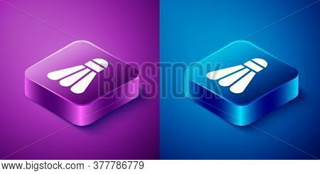 Isometric Badminton Shuttlecock Icon Isolated On Blue And Purple Background. Sport Equipment. Square