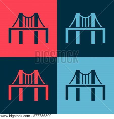 Pop Art Golden Gate Bridge Icon Isolated On Color Background. San Francisco California United States