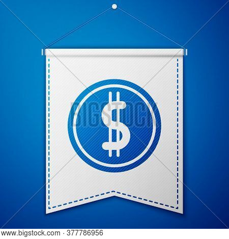 Blue Coin Money With Dollar Symbol Icon Isolated On Blue Background. Banking Currency Sign. Cash Sym