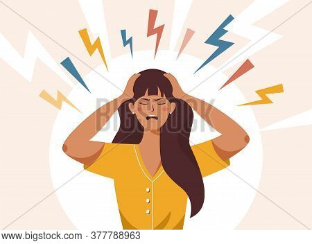 Stress, Irritation Factors, Housekeeping, Overwork, Badmood. Flat Vector Illustration Of Female With
