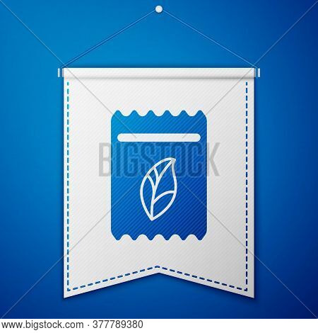 Blue Pack Full Of Seeds Of A Specific Plant Icon Isolated On Blue Background. White Pennant Template