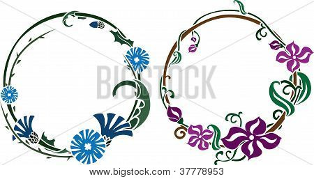 Two wreath in art nouveau style