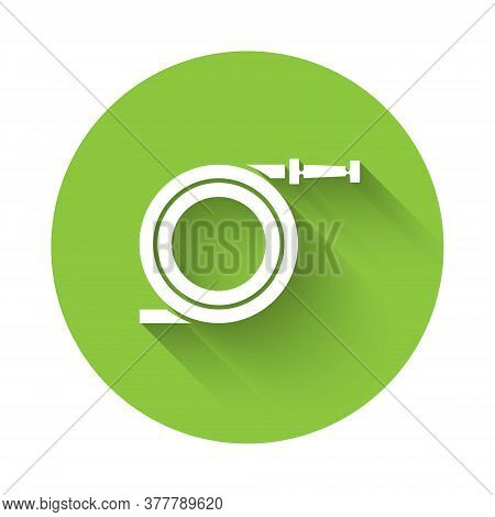 White Garden Hose Or Fire Hose Icon Isolated With Long Shadow. Spray Gun Icon. Watering Equipment. G