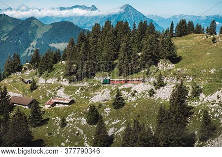 Schynige Platte, Interlaken, Switzerland - August 1 2019 : Stunning View On Mountain Landscape In Be