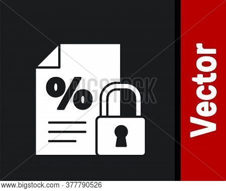 White Finance Document And Lock Icon Isolated On Black Background. Paper Bank Document For Invoice O