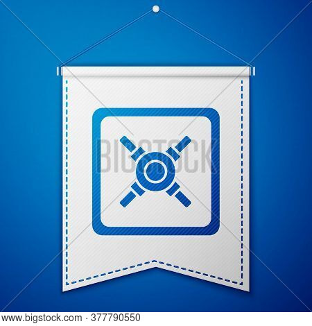 Blue Safe Icon Isolated On Blue Background. The Door Safe A Bank Vault With A Combination Lock. Reli