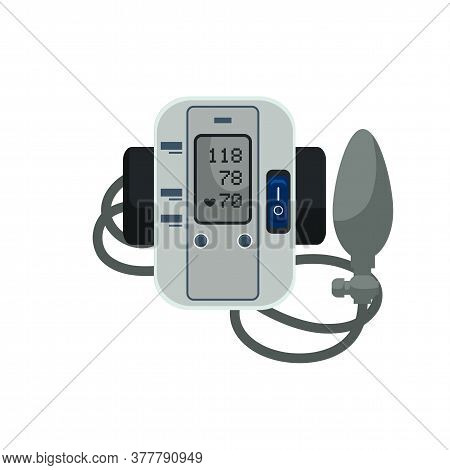 Digital Blood Pressure Meter Monitor With Supplies. Electronic Sphygmomanometer With Cuff And Rubber