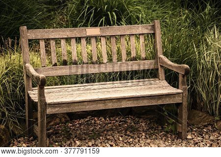 Vacant Antique Bench. Conception Of Nostalgia And Loneliness. Alone Grunge, Old-fashioned Furniture